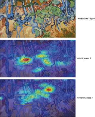 Heat maps of adults and children looking at the same Van Gogh painting (from Walker et al., 2017)