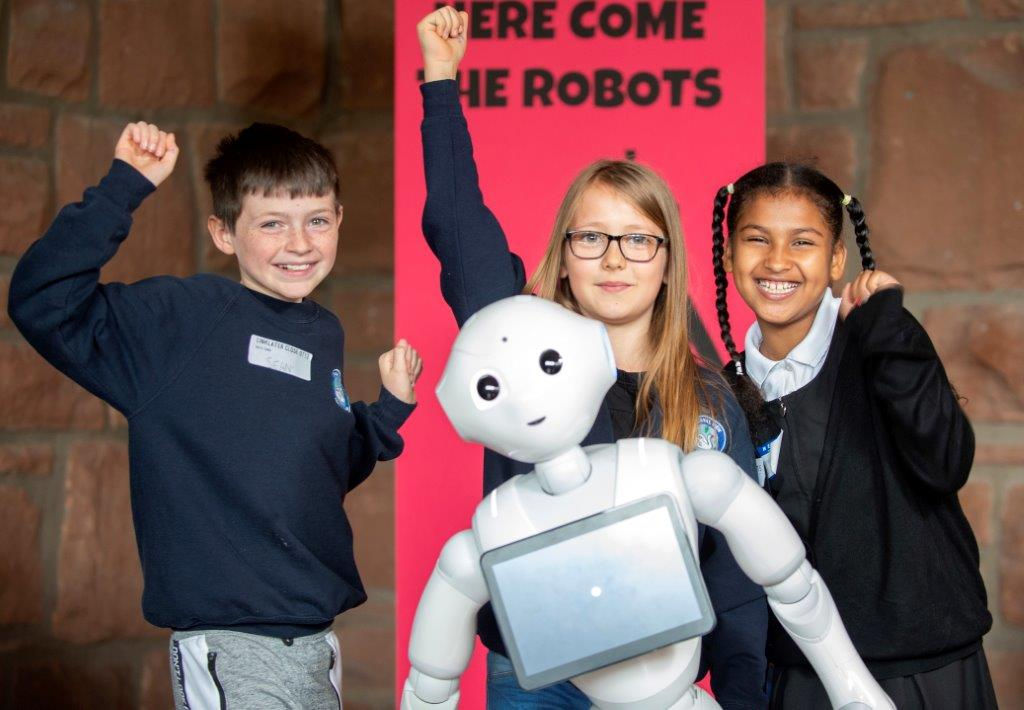 Young people with robot