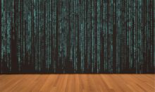 Decorative image of coding as a curtain on a stage